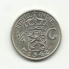 1942-S #1  Gem BU  Silver 1/4 Gulder  from Dutch East Indies, Netherlands