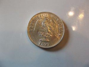 1899-ZsZ #2 Unc. Silver Mexico 20 Centavos