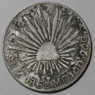 1863-Zs Silver 2 REALS Mexico Zacatecas MINT (1st REPUBLIC Coin)