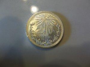 1942 #1 Unc. Silver Mexico 20 Centavos.