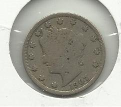 "1907 #8  Liberty ""V""  Nickel"