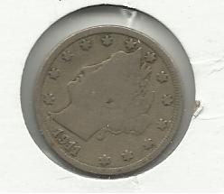 "1911 #4  Liberty ""V""  Nickel"