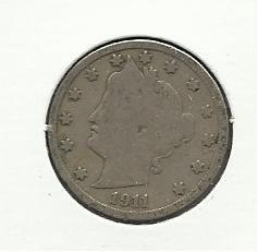 "1911 #20  Liberty ""V""  Nickel."