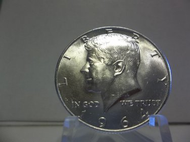 1964-D #3 Unc. 90% Silver Kennedy Half Dollar.