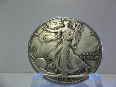 1942 #2 90% Silver Walking Liberty Half Dollar.