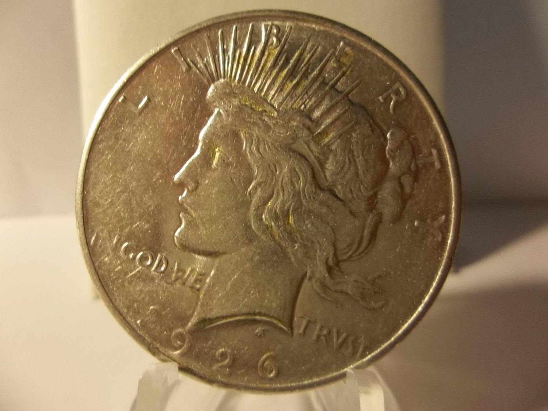 1926-D #1   Peace 90%  Silver Dollar.