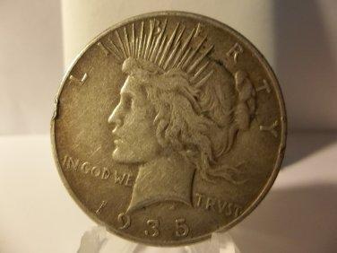 1935 #1   Peace 90%  Silver Dollar.