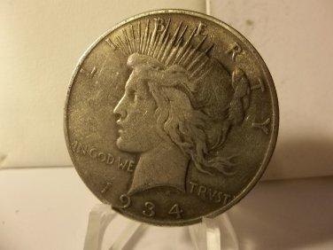 1934-S #3   Peace 90%  Silver Dollar.