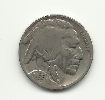 1936 #21 Buffalo Nickel with 1/4  horn.
