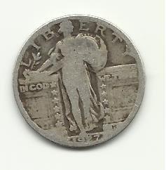 1927 #1 90% Silver Standing Liberty Quarter.