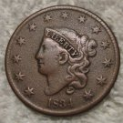 1834 Coronet Head Large Cent  Double Die Liberty