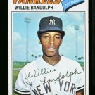 1977 O PEE CHEE #110 WILLIE RANDOULPH YANKEE MINT MT OPC