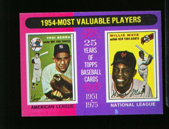 1975 TOPPS MINI #192 MVP'S MAYS AND BERRA YANKEES NM