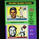 1975 TOPPS MINI #193 MVP'S BERRA AND CAMPANELLA YANKEES NM