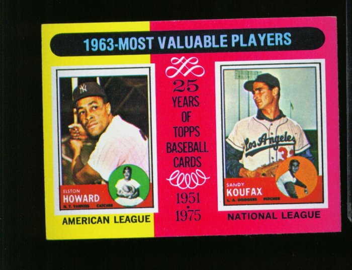 1975 TOPPS MINI #201 KOUFAX AND HOWARD DODGERS AND YANKS  NM-MT