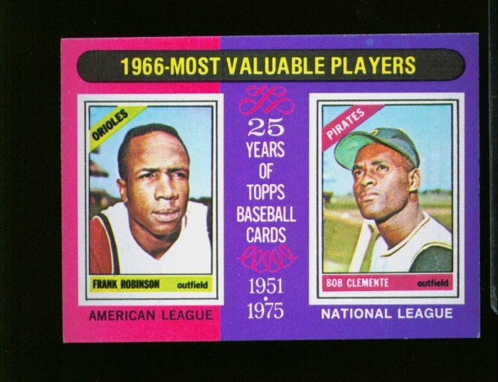 1975 TOPPS MINI #204 MVP ROBINSON AND CLEMENTE PIRATES NM