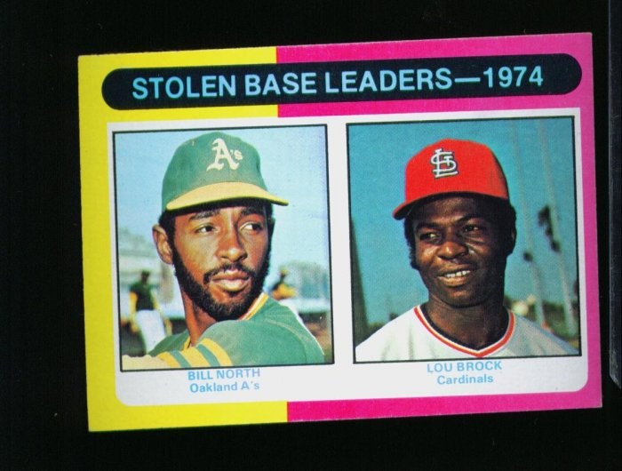 1975 TOPPS MINI #309 LDRS NORTH AND BROCK CARDINALS NM