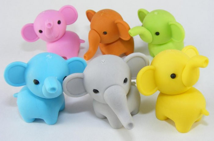 6 NEW Colors Zoo Party Elephant Erasers IWAKO Japan