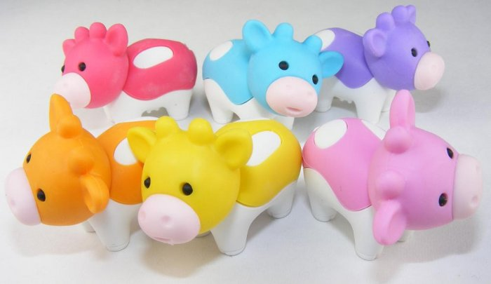 6 NEW Colors Kawaii Cow Erasers IWAKO Japan