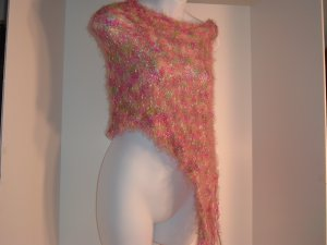Poncho hand knitted multi colors Pink green poncho