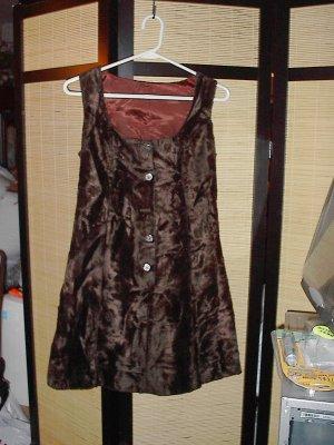 Vintage dark brown crushed velvet dress.