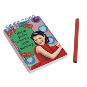 Why be pretty, when you can be dazzling! spiral note pad w/pencil