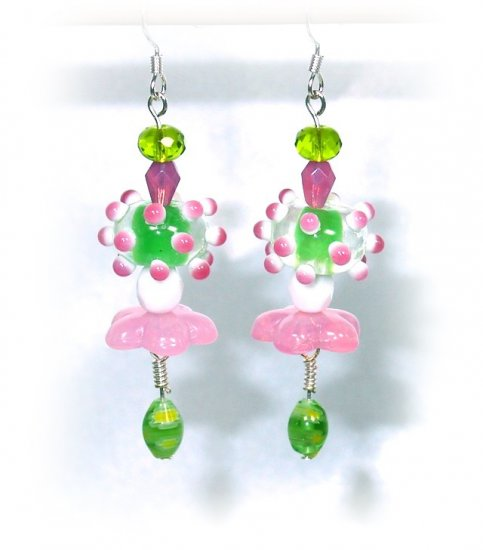 Pink & Green Lampwork Handcrafted Drop Earrings