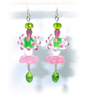 Pink & Green Lampwork Handcrafted Drop Earrings