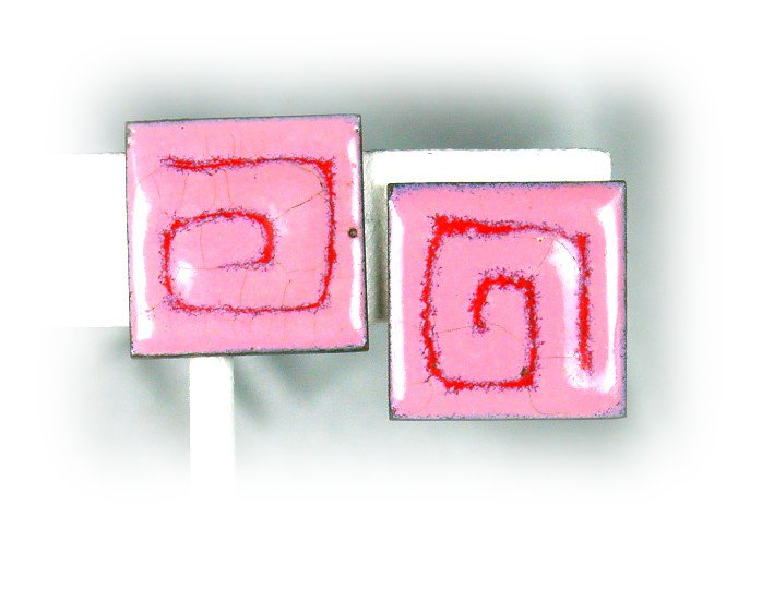 Groovy Vintage Pink & Fuschia Square Spirals Enameled Copper Earrings