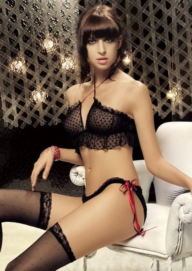 POLKA DOT LACE HALTER TOP WITH PANTY, SIZE OS