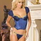 SATIN BUSTIER WITH UNDERWIRE CUPS, BONING AND MESH SLEEVES. THONG INCLUDED. SIZE 38