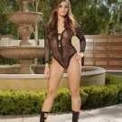 Long Sleeve Fishnet Teddy With Tie Front And Lace Trim