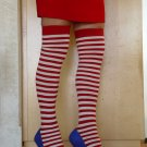 Opaque Stripe Thigh Hi (Leg Avenue) Color Red/White, Size: OS