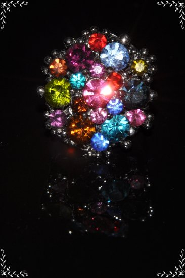 Rainbow color layered crystal ring R1232