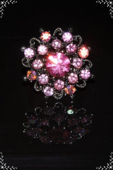 Crystal flower ring in pink R1235