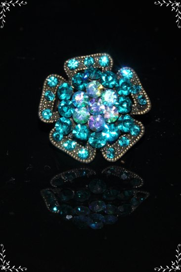 Green crystal flower copper plated ring R1239