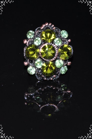Green crystal flower copper plated ring R1242