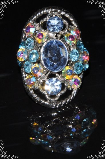 Soft color crystal vintage silver plated ring R1246
