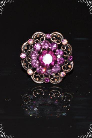 Purple crystal flower bronze ring R1247