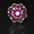 Purple crystal flower bronze ring R1247