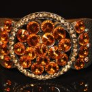Orange stone with yellow crystal watch type bangle B1002