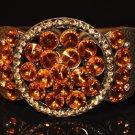 Orange stone with yellow crystal watch type bangle B1002