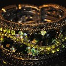 Two tone green crystal bangle B1003