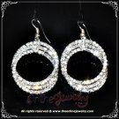 Triple hoop clear crystal rhinestone sparkling dangle earrings E3004