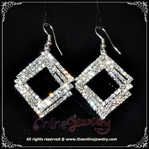 Unique design triple square hoop clear crystal rhinestone sparkling dangle earrings E3006