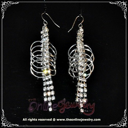 Special design cricles loops on 3 row clear crystal rhineshtone sparkling dangle earrings E3009
