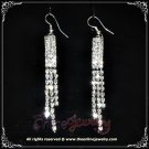 Elongated 3 row clear crystal rhinestone sparkling bridal dangle earrings E3010