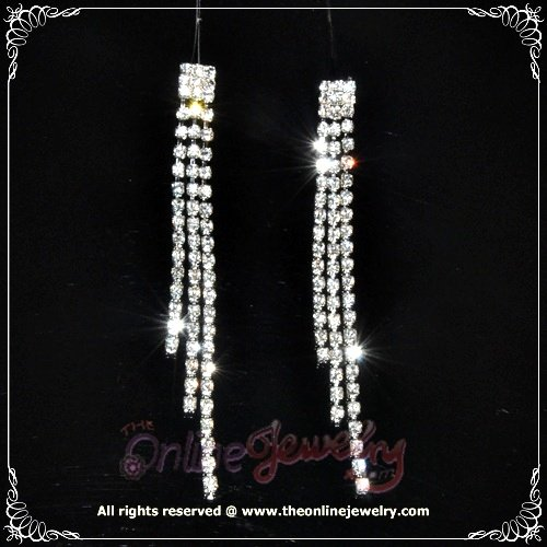 Rare 9cm long sqare on 3 row clear crystal rhinestone sparkling evening dangle earrings E3013