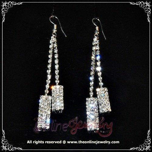 Rectangle 2 row clear crystal rhinestone sparkling dangle earrings E3014