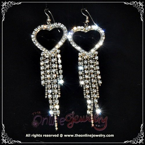 8cm long heart w/ dangling clear crystal rhinestone sparkling wedding bridal earrings E3016